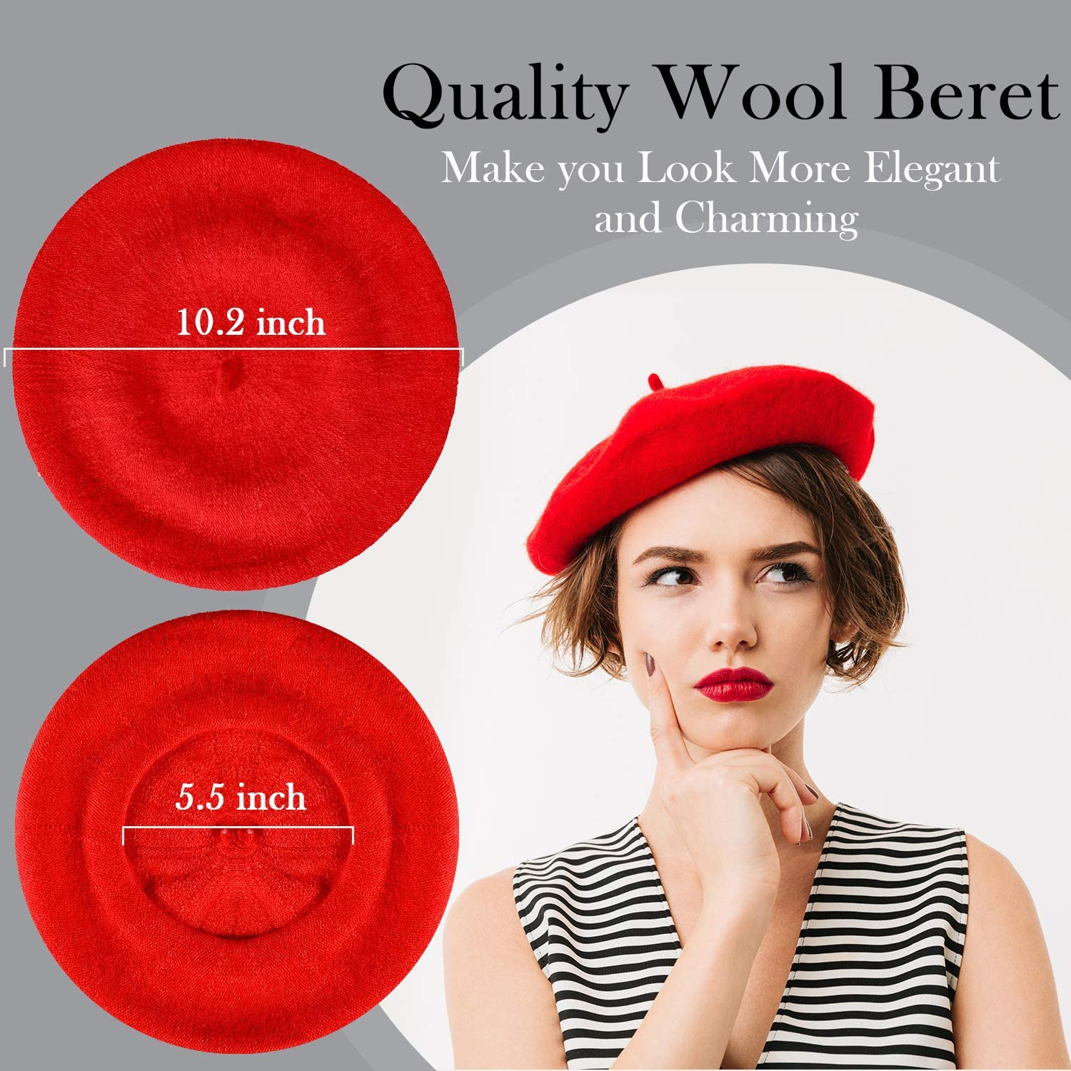 Wool Beret Hat French Artist Beanie Beret with Skily Scarf for Women Girls