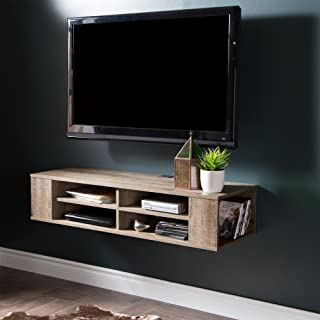 South Shore City Wall Mounted Media Audio/Video Console, Weathered Oak