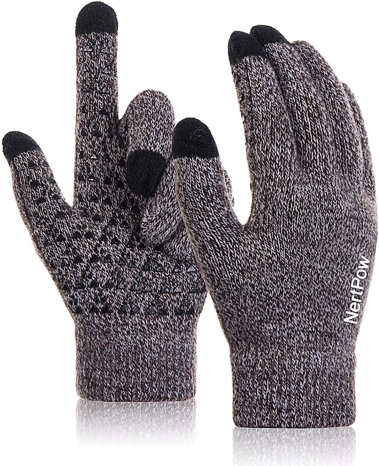 Winter Gloves For Men And Women, Warm Knit Touch Screen Texting Anti-Slip Thermal Gloves With Wool Lining (Coffee&White-L)