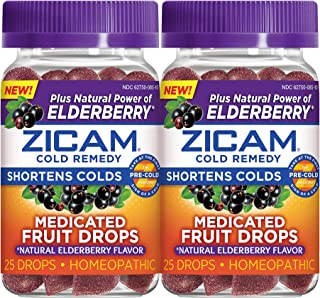 Zicam Natural Elderberry Cold Remedy Medicated Fruit Drops Homeopathic Medicine for Shortening Colds, 25 Count Drops, Pack of 2