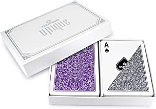 Copag Unique Luxury Plastic Playing Cards | Poker Size, Regular Index | Purple/Grey Double-Deck Set