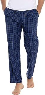 Aibrou Men's Pajama Pants Cotton Plaid Long Straight Pajama Bottoms Sleep Lounge Pants with Pockets