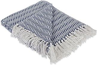 DII Rustic Farmhouse Cotton Chevron Blanket Throw with Fringe for Chair, Herringbone Chevron French Blue, Herringbone Chevron