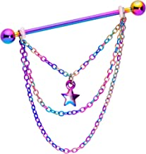 Body Candy Women 14G Rainbow Plated Steel Helix Cartilage Earring Star Chain Dangle Industrial Barbell 38mm