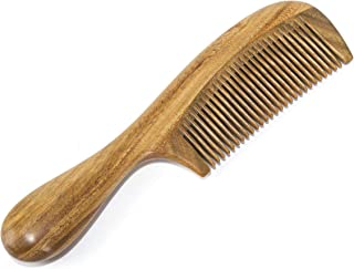 BEINY Natural Green Sandalwood Comb - Anti Static Wooden Hair Comb with Thickening Round Handle for Hair Health and Festival Gift