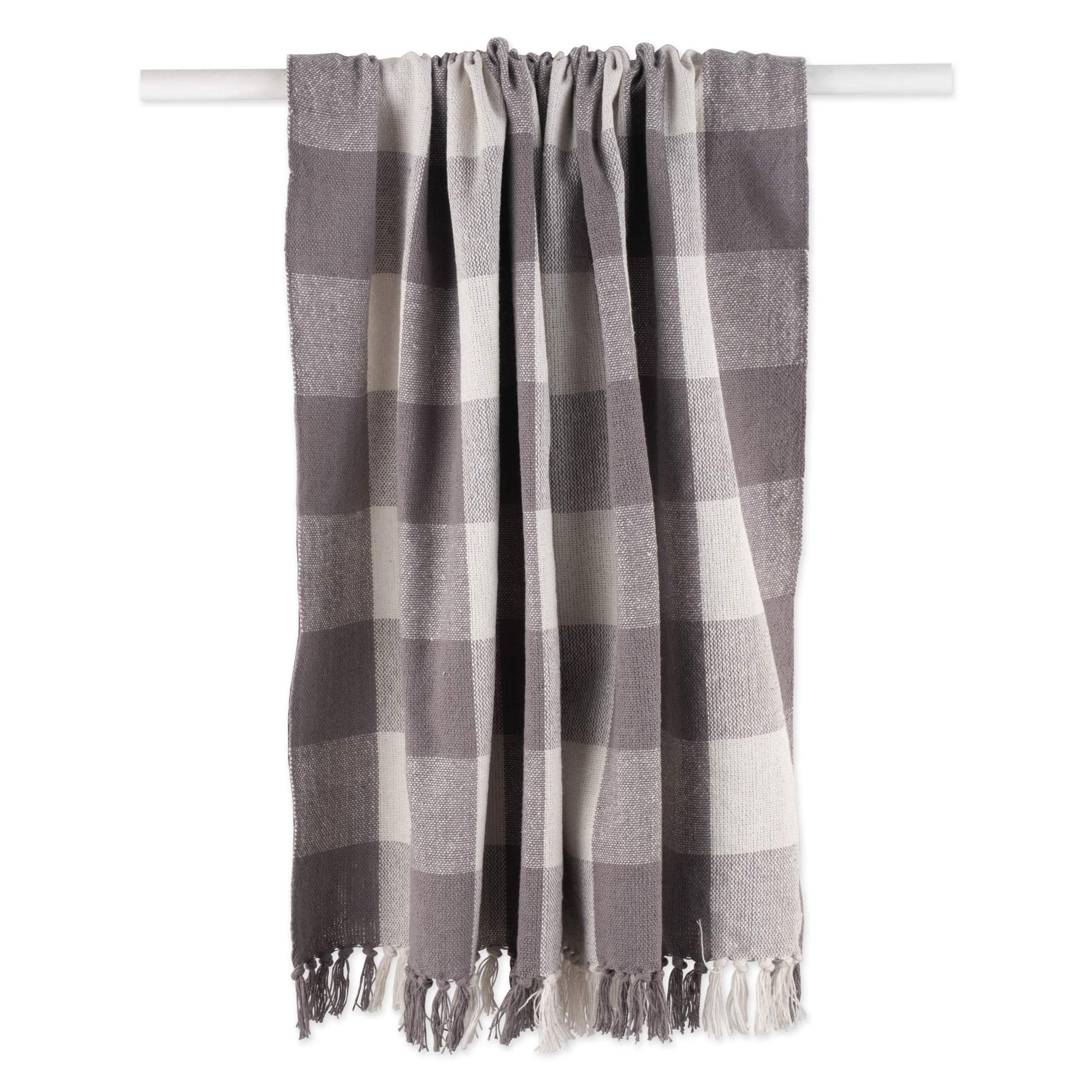 """DII Pink /& White Buffalo Check Throw 50x60/"""" with 3/"""" Fringe"""