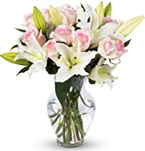 Benchmark Bouquets Light Pink Roses and White Oriental Lilies, With Vase (Fresh Cut Flowers), 1 Pound