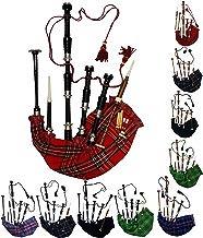 Aar Gaita Escocesa Palo de Rosa Tartán Royal Stewart Acabado en Negro con Plateado Pulido Montajes Gratis Tutor Book, Transporte Bolsa,Bordón, Lengüetas