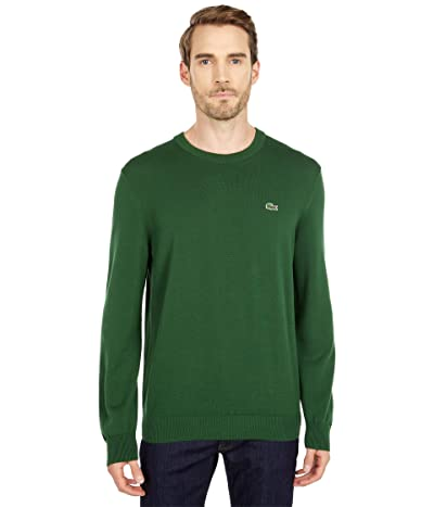 Lacoste Long Sleeve Crew Neck Sweater (Green) Men