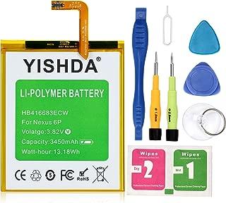 Nexus 6P Battery, YISHDA 3450mAh Replacement HB416683ECW Battery for Huawei Google Nexus 6P H1511 H1512 with Tools   Huawei Google Nexus 6P Battery Kit [18 Month Warranty]