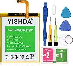 Nexus 6P Battery, YISHDA 3450mAh Replacement HB416683ECW Battery for Huawei Google Nexus 6P H1511 H1512 with Tools | Huawei Google Nexus 6P Battery Kit [18 Month Warranty]