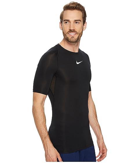 corta Compression de blanca de entrenamiento Camiseta Nike manga Pro blanca negra IHqO7Owd