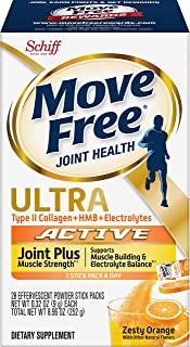 Move Free Type II Collagen, HMB, Electrolytes Ultra Active Joint + Muscle Strength Effervescent Powder Packs (28 Count in ...