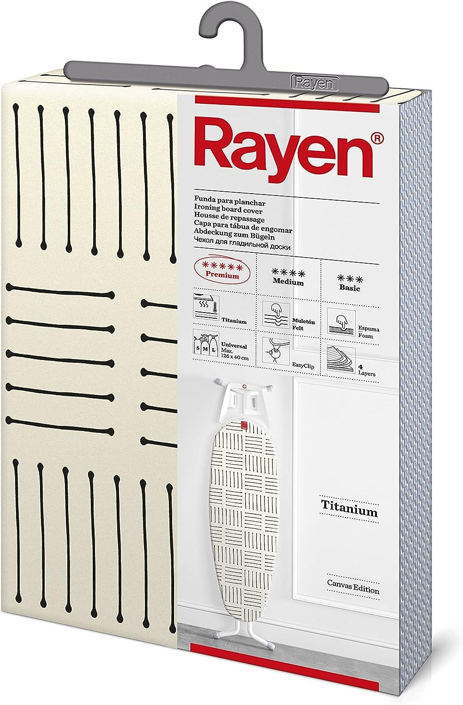 Rayen   Funda para tabla de planchar   Alcolchada y fácil de colocar con sistema EasyClip   4 capas: Espuma, Muletón, tejido calidad Canvas   Funda con recubrimiento de titanio   Medidas: 126x40cm