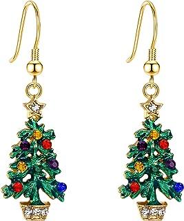 EVER FAITH Muiticolor Crystal Green Enamel Christmas Tree Star Hook Earrings Gold-Tone