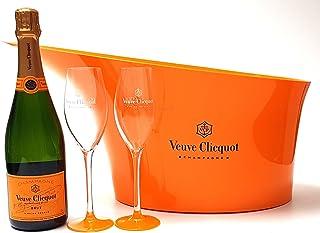 Veuve Clicquot Brut Champagner 75cl 12% Vol  Flaschenkühler  2x Gläser