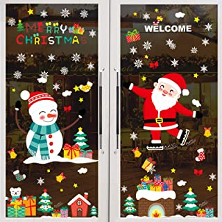 GWHOLE Christmas Cling Sticker Window Stickers Snowflake Santa Claus Reindeer Window Clings Decal for Christmas Party Deco...