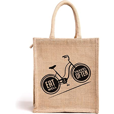 H&B Jute Bags for Lunch for Men | Jute Bags with Zip | Jute Tote Bag | Jute Tiffin Bags | Printed Jute Bag | Jute Carry Bag | Jute Bag Medium Size (Print: Eat Well Travel, Size: 11x10x6 in)