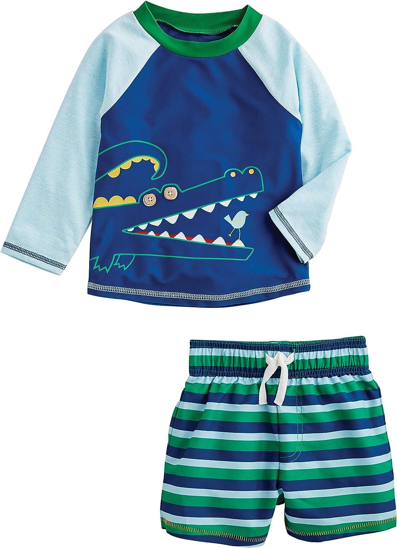 Mud Pie Boys' Long Beach Mall Alligator Rash Guard Set Luxury