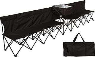13.5' Portable 8-Seater Folding Team Sports Sideline Bench with Attached Cooler & Full Back by Trademark Innovations (Black)