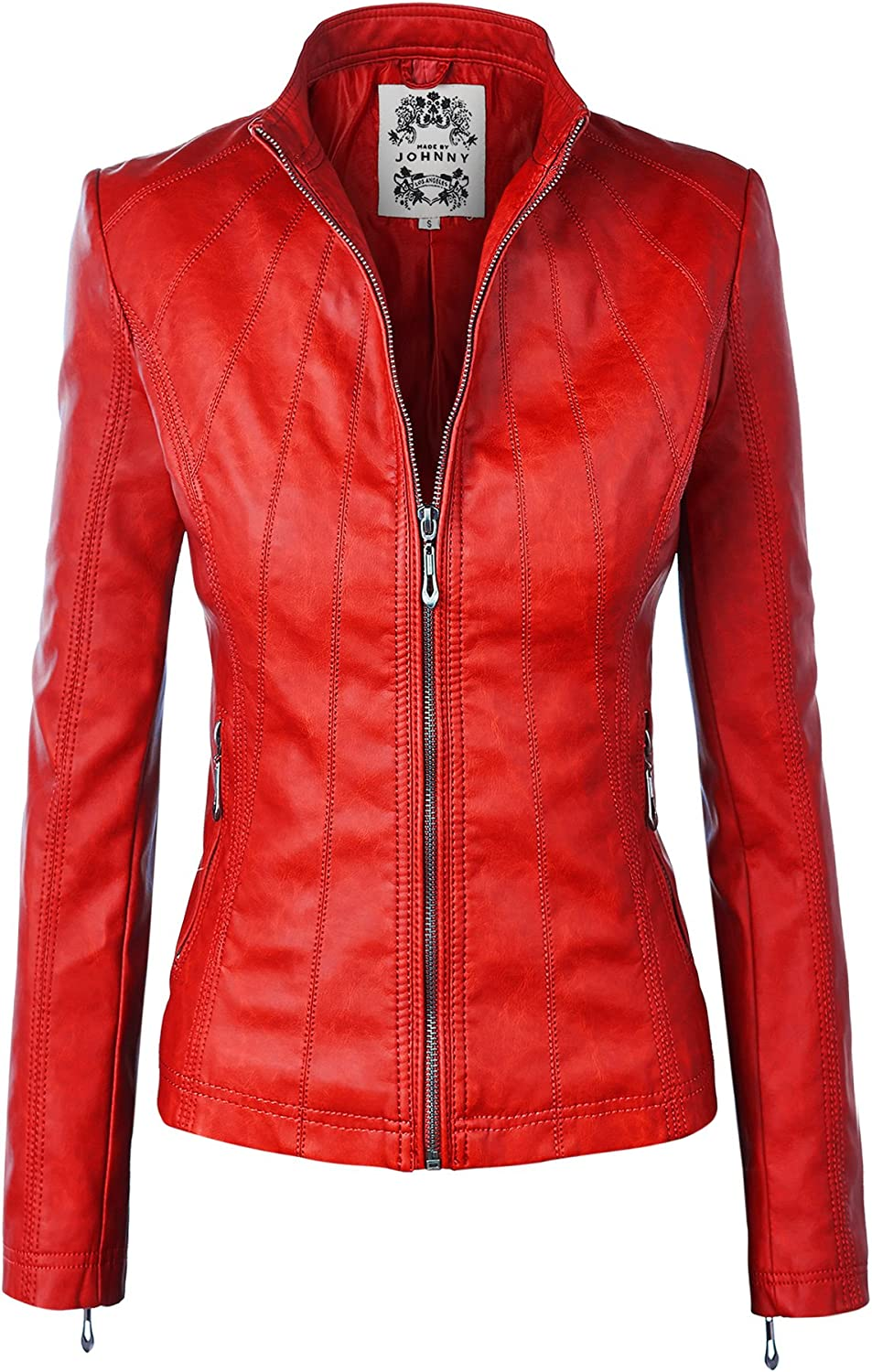 Inexpensive Made By Johnny MBJ Dealing full price reduction Womens Faux Biker Up Moto Zip Jacket Leather