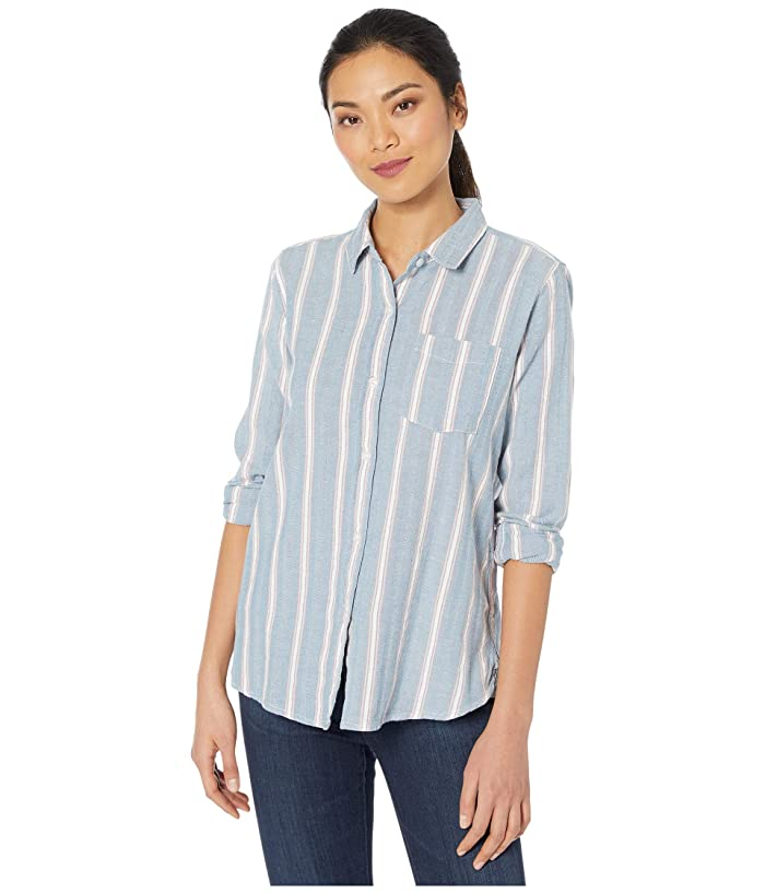 Dylan by True Grit  Denim Friendly Herringbone Chambray Stripe Button-Up Blouse (Blue) Womens Clothing
