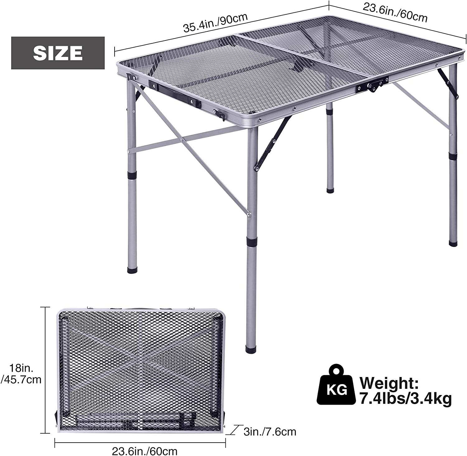 Aluminum Lightweight Portable Grill Stand Table with Adjustable Height Varbucamp Foldable Grill Table for Outdoor Cooking Outdoor Silver 36/×24 Outside BBQ Picnic for Camping