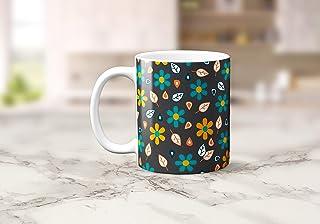 Taza de té o café gris con diseño floral de arte popular, 11 oz
