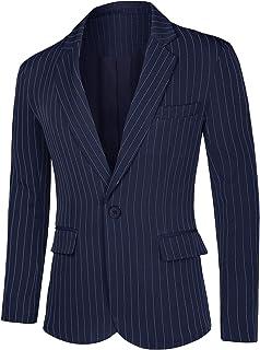 Lars Amadeus Men's Pinstripes Suit Formal Sport Coats Slim Fit Striped Dress Blazer