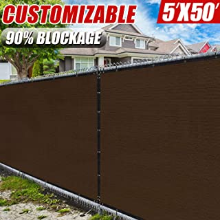 Amgo 5' x 50' Brown Fence Privacy Screen Windscreen,with Bindings & Grommets, Heavy Duty for Commercial and Residential, 90% Blockage, Cable Zip Ties Included, (Available for Custom Sizes)