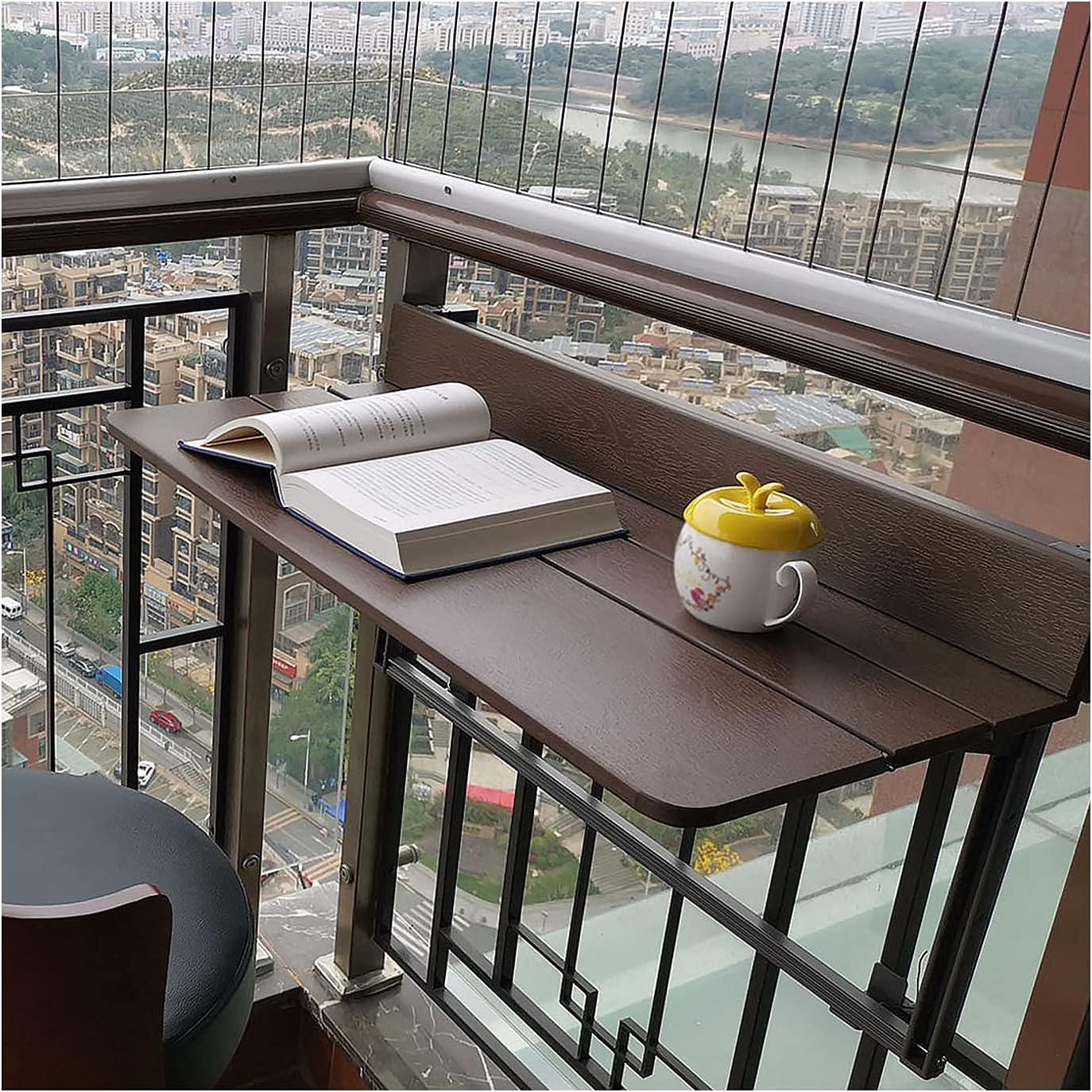 LWZ Mesa Plegable Balcón Barandilla Mesa Colgante, Mesa desplegable Flotante al Aire Libre para café Patio Jardín Comedor, Mesa de Comedor Mesa de Bar Mesa de Ocio Mesa de Estudio