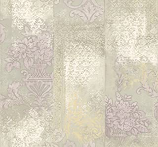 Damask Mud Cloth Wallpaper Purple Cream Modern Deconstructed Design