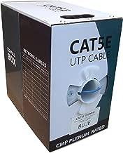 CAT5E PLENUM 1000FT SOLID 350MHZ 24AWG UTP BULK BLUE CMP NETWORK LAN CABLE
