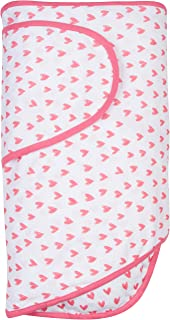 Miracle Blanket Swaddle for Baby Girls, Coral Hearts, Newborn to 14 Weeks