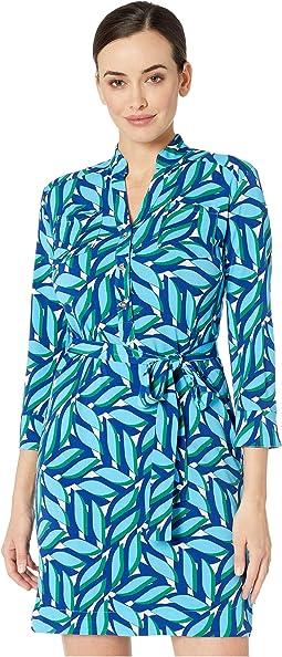 Stretch Knit Jersey Printed Shirt Front Dress