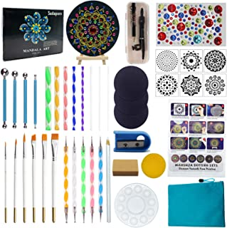 44 PCS Mandala Dotting Tools Painting Kit Include Rock Dot Stencils Compass Brush Zipper Waterproof Bag for Stone Mandala ...