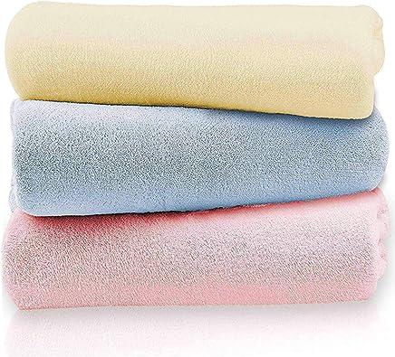 LEEPWEI バスタオル 厚手 大判 瞬間吸水 抗菌 防臭 3枚セット 人気 安い マイクロファイバー 家庭用 ふわふわ 柔らかい 70×140cm