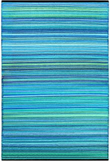 Green Decore Weaver Premium Grade Stain Proof Reversible Plastic Outdoor Rug (6x9, Turquoise Blue)