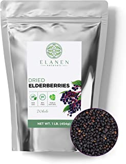 Dried Elderberries 1 lb. (16 oz.), Contains Organic Non-GMO Elderberries in Non-BPA Packaging, Whole Europe...