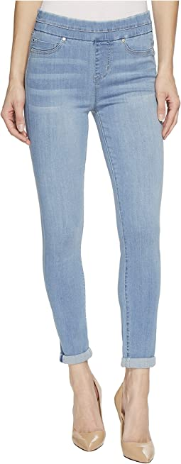 Liverpool - Zoe Rolled Cuff Crop Pull-On in Silky Soft Denim in Normandie Light