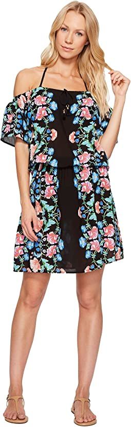 Damask Floral Off the Shoulder Short Dress Cover-Up