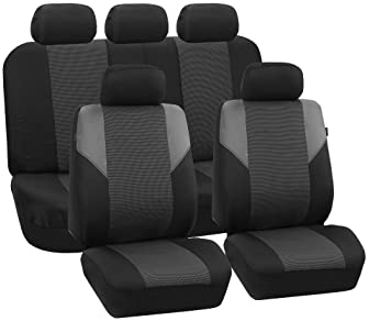 FH Group FB064GRAY115 Gray Timeless Cross Weave Seat Cover (Airbag Ready and Split Bench Full Set), Gray-Full