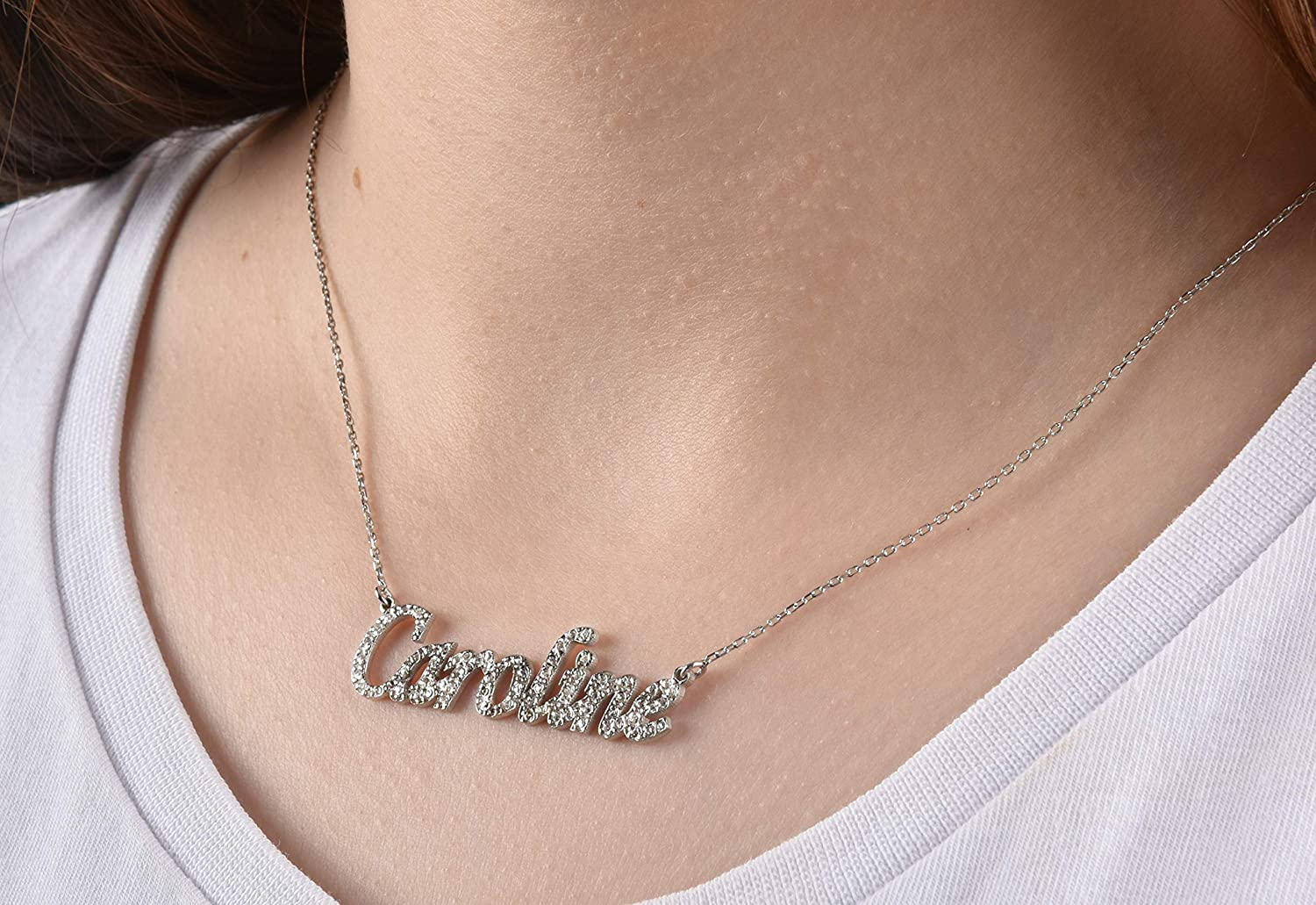 Silver Name Necklace Cubic Max 45% OFF Plate Neckla Free Shipping Cheap Bargain Gift Zirconia Gold