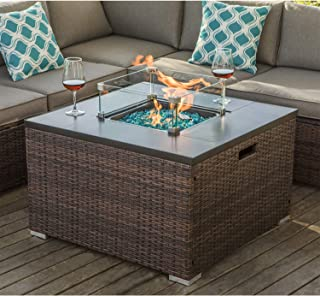 COSIEST Outdoor Propane Fire Pit 32-inch Square Espresso Brown Wicker Fire Table, 40,000 BTU Stainless Steel Burner,Ceramic Top, Glass Wind Guard, Free Lava Rocks and Waterproof Cover