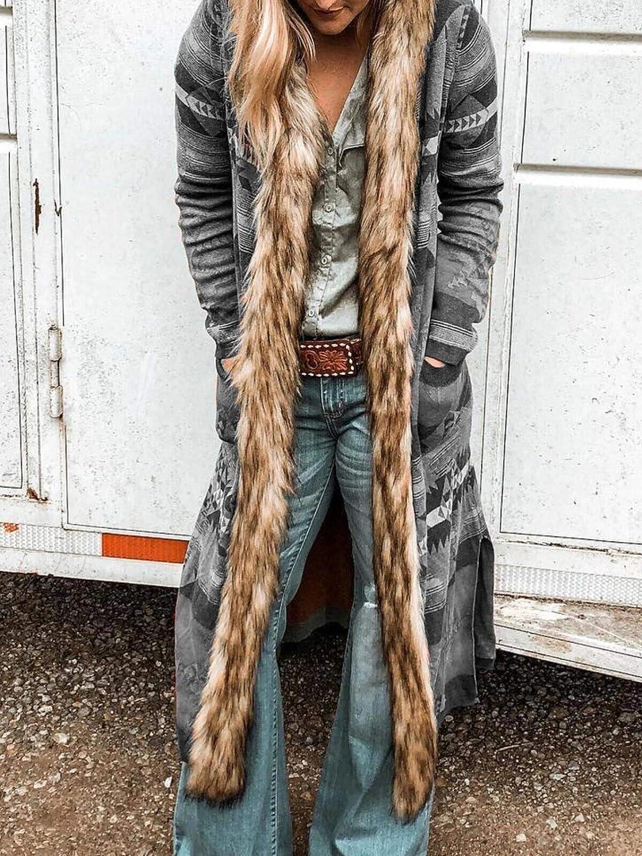Womens Hooded Long Jacket Coats Floral Print Boho Ethnic Vintage Faux Fur Collar Warm Parka Outwear