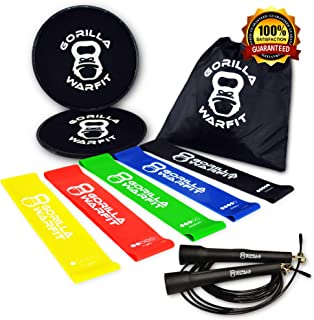 80 Day Obsession Equipment | Resistance Loop Bands and Exercise Sliders Set with Bonus Jump Rope | (2) Core Sliders | (5) Workout Bands | (1) Metal Bearings Speed Rope
