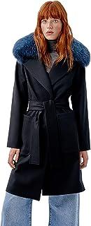 Miguel Marinero Abrigo de Mujer Negro con Pelo en el Cuello y cinturón