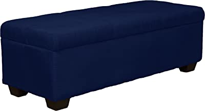 "48"" x 19"" x 18"" high Tufted Padded Hinged Storage Ottoman Bench, Microfiber Suede Dark Blue"