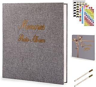Photo Album Self Adhesive DIY Scrapbook 60 Pages Linen Magnetic Album Scrap Book 16 Inch Holds 3×5 4×6 5×7 6×8 8×10 Photos...