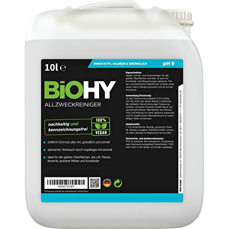 Biohy Allzweckreiniger Konzentrat 10l Kanister Schonender Profi Universalreiniger Für Haushalt Und Auto Vollständig Biologisch Abbaubar Drogerie Körperpflege